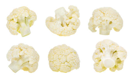 set of cauliflower vegetable isolated on white background Stockfoto