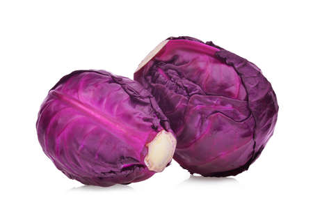 two whole red cabbage vegetable isolated on white background