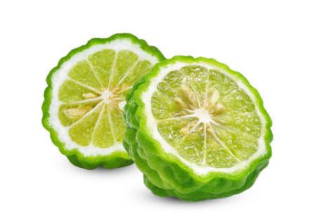 half cut slice of fresh bergamot isolated on white background Banque d'images
