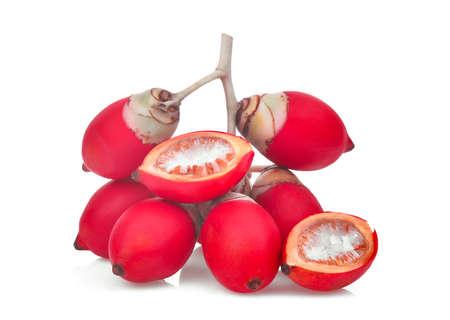 ripe betel nut fruit isolated on white background