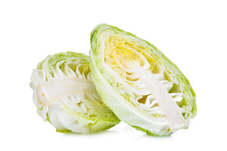 half sliced green pointed cabbage with half isolated on white background