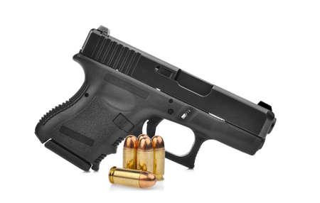 semi automatic 9 mm handgun pistol with ammo isolated on white background Stock Photo