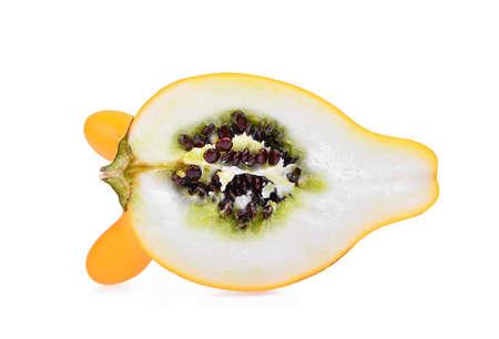 half of yellow nipple eggplant, fancy fruit isolated on white background
