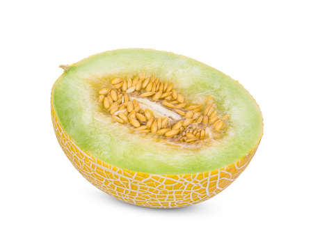 half pearl orange melon with seeds isolated on white background Stock Photo