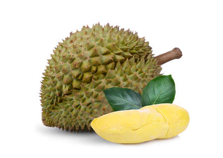 durian tropical fruit with green leaf isolated on white background 스톡 콘텐츠
