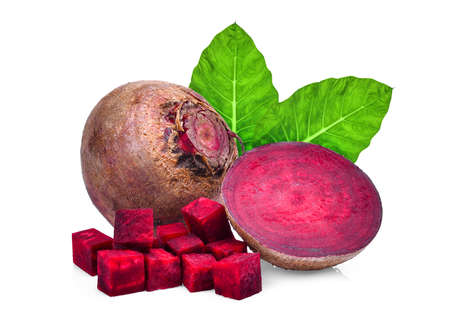 whole and half of beetroot with green leaves isolated on white background