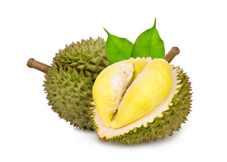 durian tropical fruit with green leaf isolated on white background Stock Photo