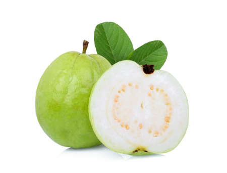 whole and half guava fruit with green leaf isolated on white background 스톡 콘텐츠