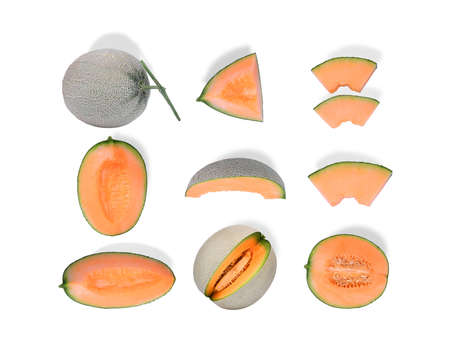 whole and sliced japanese melon, orange melon or cantaloupe melon isolated on white background, flat lay, top view
