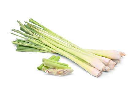 fresh lemongrass with slices isolated on white background Stock Photo