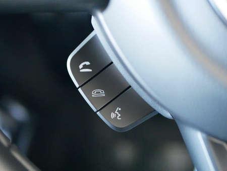 phone button control in the modern car, interior details 版權商用圖片