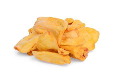 dried jackfruit slices isolated on white background