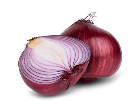 whole and half red onion isolated on white background