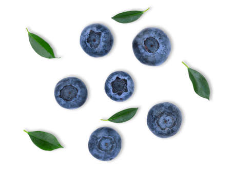blueberry with leaf isolated on white background, flat lay,top view Banque d'images