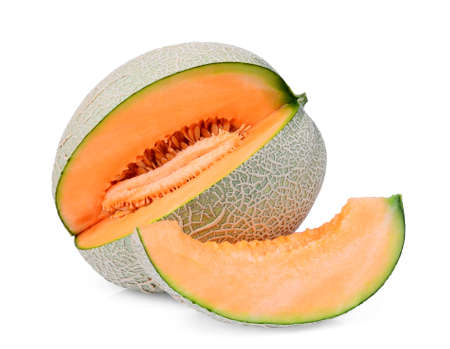 whole and slice of japanese melons, orange melon or cantaloupe melon with slice isolated on white background