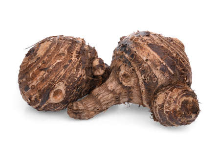 raw taro root isolated on white background