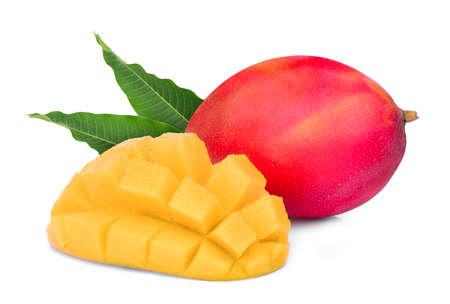 whole and slice ripe mango fruit with leaves isolated on white background