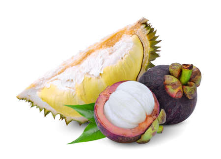 durian fruit and mangosteen with leaf isolated on the white background