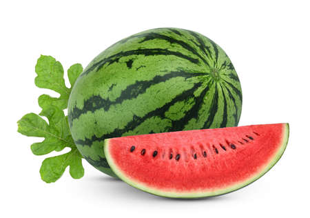 whole and slices watermelon with green leaves isolated on white background Zdjęcie Seryjne