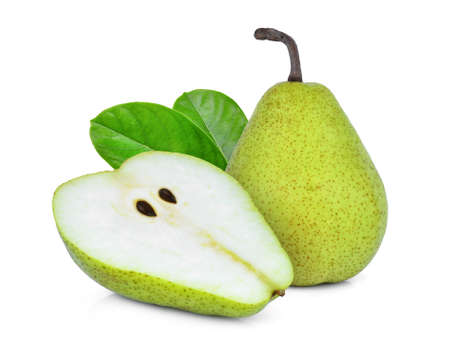 whole and half green packham pear with green leaf isolated on white background