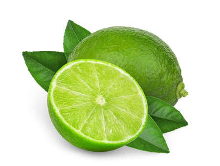 whole and half green lime with  leaves isolated on white background Zdjęcie Seryjne
