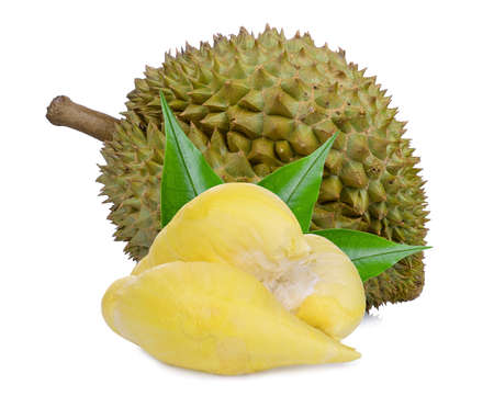 durian fruit with leaves isolated on white background