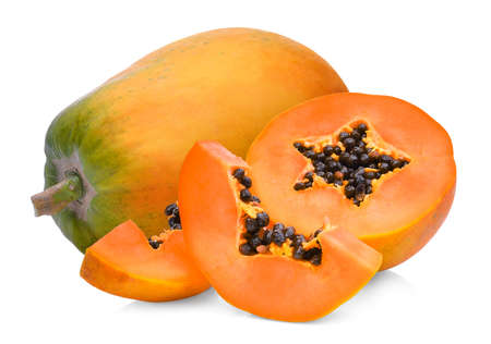 whole and half of ripe papaya fruit isolated on white background Zdjęcie Seryjne