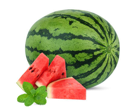 whole and sliced fresh watermelon with mint leaf isolated on white background
