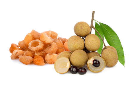 fresh and dried longan with leaf isolated on white background Zdjęcie Seryjne