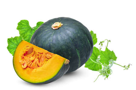 whole and slice green pumpkin with leaf isolated on white background Zdjęcie Seryjne