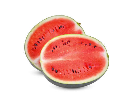 half of fresh watermelon isolated on white background