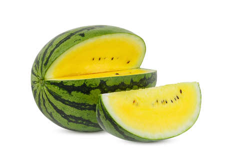whole and slice yellow watermelon isolated on white background