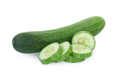 fresh cucumber with slices isolated on white background