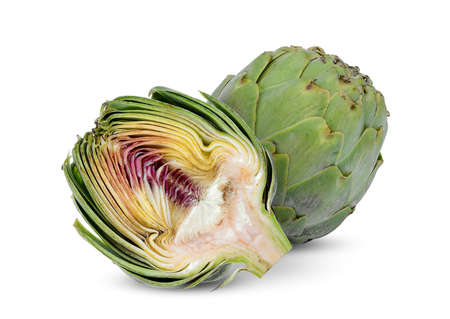 whole and half artichoke isolated on white background