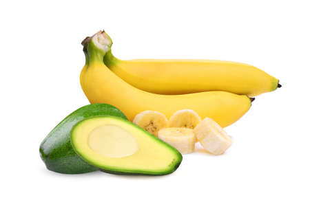 avocado and ripe bananas with slice isolated on white background, food for health Stok Fotoğraf