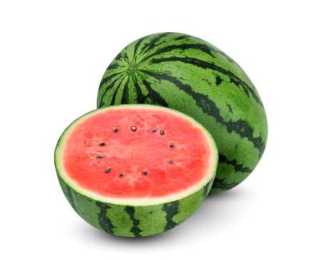 ganze und halbe Wassermelonenfrucht isoliert auf weißem Hintergrund Standard-Bild