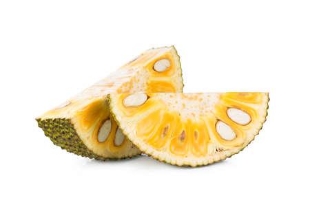 sliced jackfruit isolated on white background
