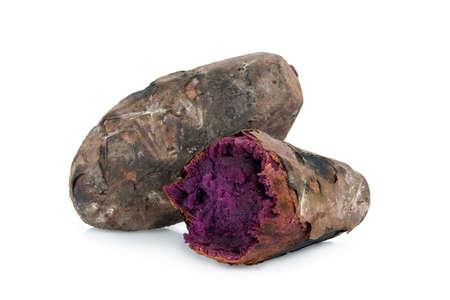 roasted purple sweet potato isolated on white background