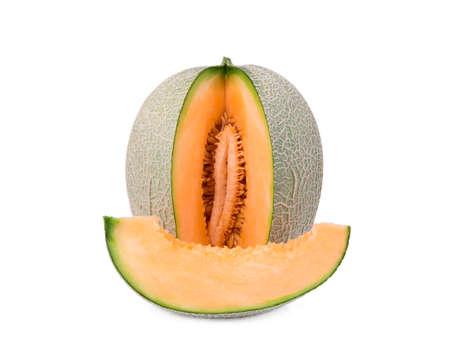 orange melon or cantaloupe melon with slice isolated on white background