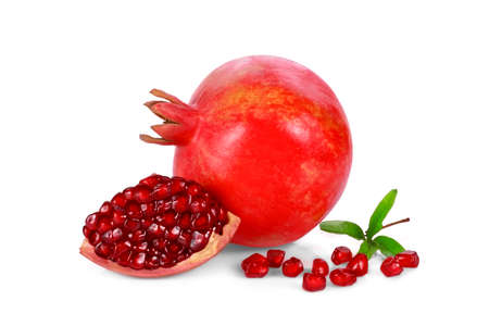 pomegranate fruits with leaf isolated on white background