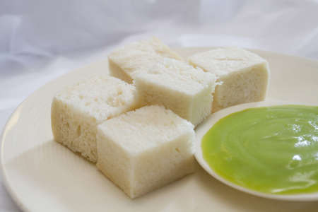 bread steamed custard green cream photo