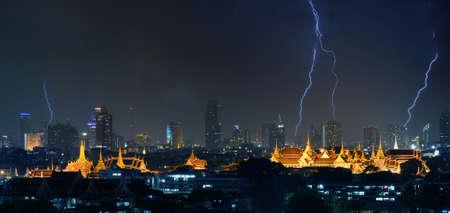 the grand palace: Grand Palace and lightning Stock Photo