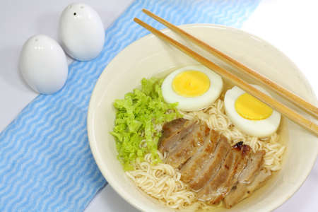 instant noodle with Roasted pork and Boiled egg photo