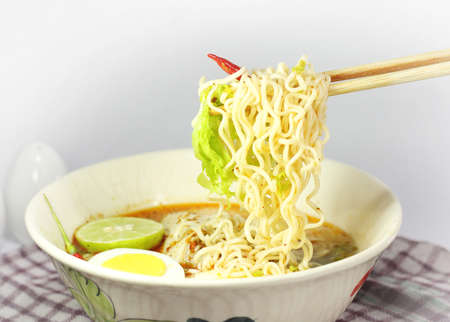 hoon: instant noodle with Spicy chicken and Boiled egg
