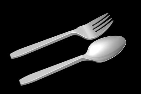 3D plastic spoon and fork photo