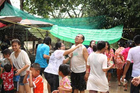 songkran: people water-splashing in Songkran festival