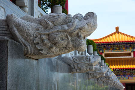 Dragon head carved from stone building to the great figures of the ancient Chinese culture possesses the powerful
