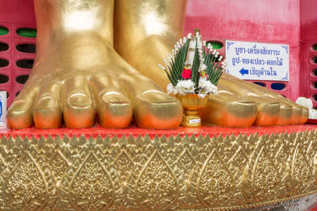 living things: The feet of the Buddha is a large statue of a standing Buddha represents compassion for living things  Stock Photo