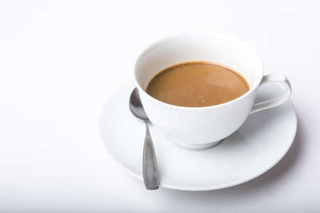 disadvantages: Cup of coffee I have very little benefits and disadvantages. Stock Photo