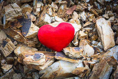 hard love: Valentine love hearts and hard as a rock mountain.